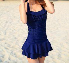 Women  Blue Strap Swimsuit Skirt Swimsuit Girl Swimming by donghua, $29.90