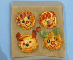 Animal face pizzas step by step cooking. It's fun making pizza dough and then laying out little bowls of toppings so that the children can use these to design faces on their pizzas. This hidden vegetable sauce is a good way to get children to eat more vegetables as what they can't see, they can't pick out.