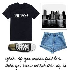 """yeah, If you wanna find love then you know where the city is"" by liza-khamitova ❤ liked on Polyvore featuring Universal Lighting and Decor, Converse and the1975"