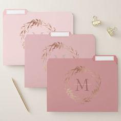Shop Elegant Blush Pink Rose Gold Monogram File Folder created by JSchmidtDesignworks. Pink Gold Office, Pink Office Decor, Pink And Gold, Blush Pink, Work Desk Decor, Wall Decor, Black Gold, Wall Art, Rose Gold Room Decor