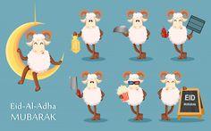 Eid al Adha Mubarak greeting card with funny ram, set of seven poses. Eid Al Adha, Adha Mubarak, Ramadan Mubarak, Adobe Illustrator, Ramadan Photos, Muslim Holidays, Happy Eid, Card Stock, Vector Free