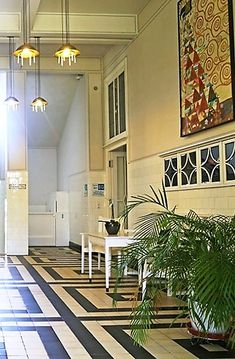 Hoffmann's obsession with the design of the total environment is evidenced in the hotel-like common space of the sanatorium, with furnishings by the Wiener Werkstätte, in which he was deeply involved. Bauhaus, Art Decor, Home Decor, Designer, Environment, Interior Design, Architecture, Space, Glass