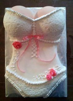 White Corset Bridal Shower Cake Pretty white and pink corset cake for a friends bridal shower. Lingerie Cake, Lingerie Cookies, Bridal Lingerie Shower, Bridal Shower Cakes, Bridal Showers, Lingerie Party, Sexy Cakes, Fancy Cakes, White Corset