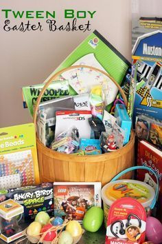 Z teen boys easter baskets pinterest final holidays pinterest but lighter easter basket ideas for a tween boy negle Images