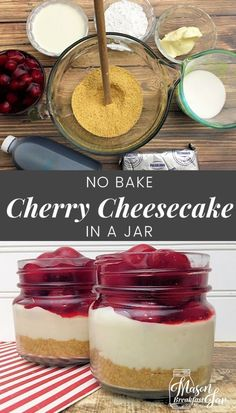 Are you craving a decadent dessert that can be ready in a jiffy? Grab your Mason jars because in minutes you can be devouring this mini cheesecake recipe for Cherry Cheesecake in a Jar. This easy, no bake cheesecake recipe requires only eight ingredients Easy Mini Cheesecake Recipe, Mason Jar Cheesecake, No Bake Cherry Cheesecake, How To Make Cheesecake, Raspberry Cheesecake, Oreo Cheesecake, Cheesecake In A Glass, Homemade Cheesecake, Classic Cheesecake