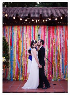 diy-streamer-backdrop-bridal musings glitter and streamers. Wedding Ceremony Ideas, Wedding Ceremony Backdrop, Wedding Backdrops, Wedding Reception, Wedding Readings, Garland Wedding, Wedding Ceremonies, Wedding Vows, Destination Wedding