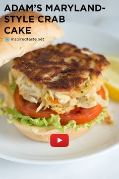 Adam's Maryland-Style Crab Cake Recipe Video -  A great crab cake doesn't call for lots of ingredients, it has a ridiculous amount of sweet blue crabmeat and has very little filler. From inspiredtaste.net | @inspiredtaste #crabcakes #maryland #dinner