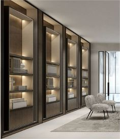 Family living area details or the library room. Office Interior Design, Office Interiors, Luxury Interior, Room Interior, Interior Architecture, Shelving Design, Shelf Design, Cabinet Design, Vitrine Design