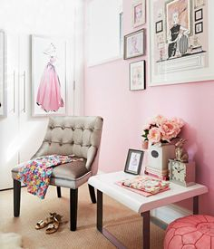 Pink dressing room.