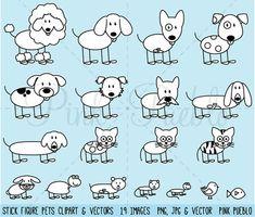 Stick Figure Pets Clipart Clip Art Vectors Stick by PinkPueblo
