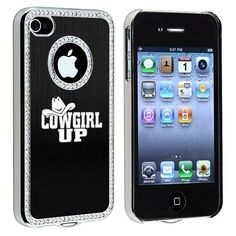 Apple iPhone 4 4S 4G Black S66 Rhinestone Crystal Bling Aluminum Plated Hard Case Cover Cowgirl Up:Amazon:Cell Phones & Accessories