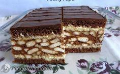 Gesztenyés szelet recept fotóval My Recipes, Sweet Recipes, Dessert Recipes, Cooking Recipes, Hungarian Desserts, Hungarian Recipes, Cake Bars, Sweet Cookies, Homemade Cakes