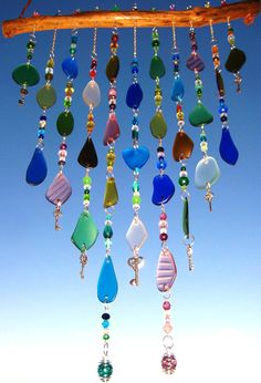 Multicolored Beach Glass Windchime with Glass by mexicobeachgirl