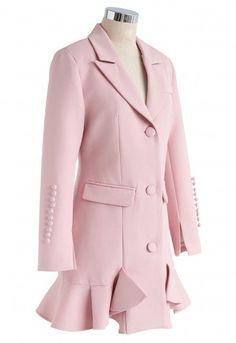 Classy Vogue Peplum Coat Dress in Pink - Retro, Indie and Unique Fashion Blazer Outfits, Blazer Dress, Peplum Coat, Iranian Women Fashion, Fashion Women, Women's Fashion, Vogue, Elegant Dresses For Women, Tuxedo Dress