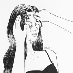 Illustration by Henn Kim. Ms, Miss, and Mrs, there are many fronts out there for women to assume. The modern woman is not out there knitting away woolen socks pondering her fate. Crying Girl Drawing, Cry Drawing, Henn Kim, Hipster Vintage, Style Hipster, Dark Art, Art Inspo, Art Sketches, Line Art