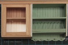 Build Custom Doll's House Kitchen Cabinets: Miniature Glass Fronted Upper Kitchen Cabinet with Opening Doors