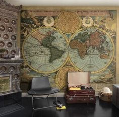 ♂ Masculine interior design with map wall