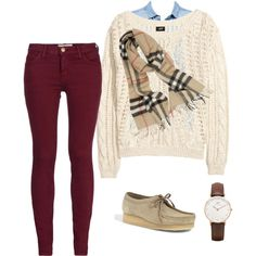 """""""Loving fall!!!!!!!"""" featuring #Clarks #wallabees by katie-thomps on Polyvore"""