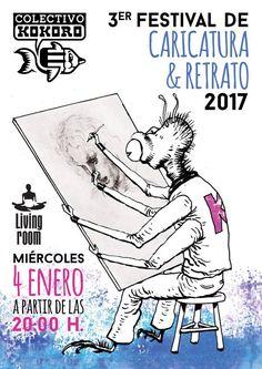Cartel para el Tercer Festival de la Caricatura y el Retrato. Realizado por Paco Carrión y Paula Arranz (Srta Do).