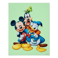 DISNEY GROUP POSTER Mickey Minnie Donald RARE HOT NEW 24x36