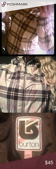 Burton Women's Plaid Jacket size XS This is a Super Cute Burton Jacket.  Lt Beige with brown and pink plaid stripes.  Size XS.  Perfect condition.  Just too small for me with all my layers on.  Pockets and powder skirt.  You'll love it. :) Burton Jackets & Coats