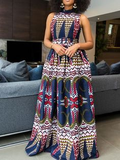 Print Sleeveless Floor-Length High Waist Color Block Dress