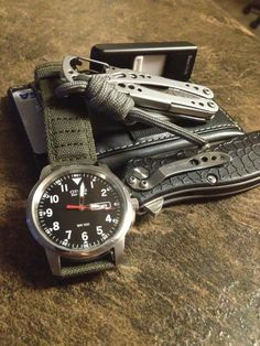 Citizen Eco Drive••Leatherman Style CS••Kershaw Oso Sweet••Sandisk Thumb Drive••Leather Front Pocket Wallet