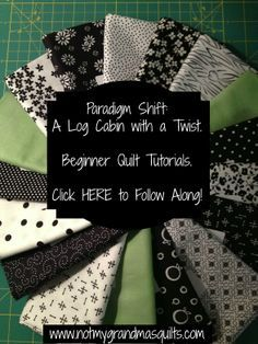 Tutorials creating a stunning black and white modified log cabin quilt with lime green accents. Easy to Make and Follow Along!