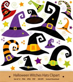 Halloween Witches Hats Clipart Witch Hat Clip Art by GoneDigital