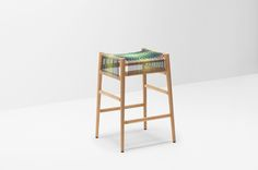 The Loom bar stool has been given an colourful makeover by British artist and textiles designer Ptolemy Mann. The woven areas use elastic polyester cord,..