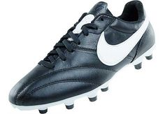 The Nike Premier FG Soccer Cleats - Black with White
