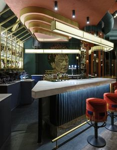 bohemian meets luxury in cluster architects' cafe-restaurant in greece- extra bar idea Cafe Bar, Cafe Restaurant, Restaurant Lighting, Bar Lighting, Restaurant Design, Bohemian Restaurant, Luxury Restaurant, Restaurant Tables, Modern Lighting