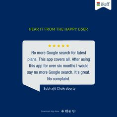 "Hear Them Say! #UserReview: ""No more Google search for latest plans"" Thanks for sharing your feedback Subhajit Chakraborty. #iReff #RechargePlans #PrepaidPlans #Telecom"