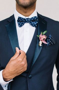 Navy blue tuxedo idea for groom - tuxedo with polka dot bow tie and pocket square {Violet Rose Floral}