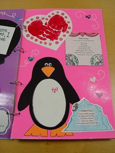 february scrapbook page example - love the idea of each month doing one hand/footprint project!!!