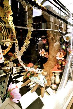 Fenwick Newcastle christmas window display 'Alice in Wonderland' theme 2014