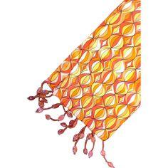 Mod Op Art Red Yellow Orange Silk Scarf Oblong Fringe Beads