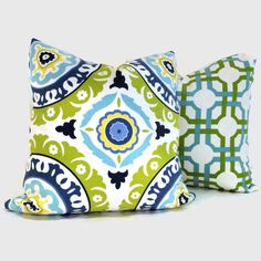 Green and turquoise suzani decorative pillow cover- for bedroom