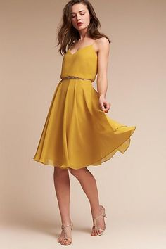 Anthropologie Sienna Wedding Guest Dress | perfect dress for a fall wedding | yellow dress | classy and chic style (affiliate link)