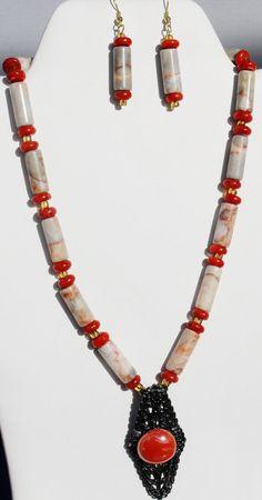 Coral OOAK redline marble porcelain gunmetal filigree by ElmsRealm, $30.00