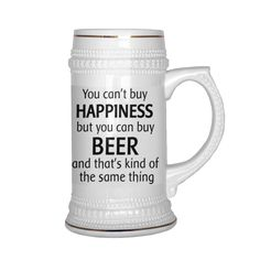 You can't buy HAPPINESS but you can buy BEER and that's kind of the same thing, Perfect for birthday - Funny Beer Mug & Coffee Mug, 22 OZ Mug, Gift for dad, brother, men,him, her, husband or friend, Best funny gift