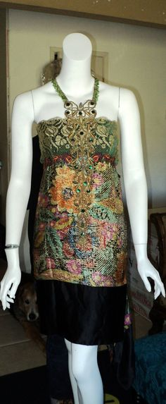 """1920s """"Bellasoiree Original """"Lame and silk velvet dress Fabulous floral trim and Metallic Beaded  FINAL SALE"""