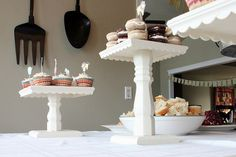 square wood base + wooden table leg + wooden doll house trim + pray paint = diy cake stand!