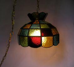 Vintage Leaded Slag Glass Hanging Swag Lamp 70s by AuntysTeeks, $80.00