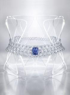 "CARTIER. ""Diatonique"" Necklace - white gold, one 19.79-carat cushion-shaped sapphire from Ceylon, rose-cut diamonds, brilliant-cut diamonds. #Cartier #RésonancesDeCartier #2017 #HauteJoaillerie #HighJewellery #FineJewelry #Sapphire #Diamond"