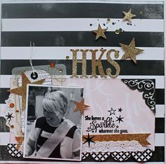 She Leaves A Sparkle - Scrapbook.com - Elegant black white and gold for an adult birthday celebration.