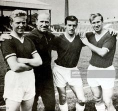 Sport, Football, Circa 1960, Manchester United players: L-R: Albert Quixhall, Manager Matt Busby, Dennis Viollet and Bobby Charlton