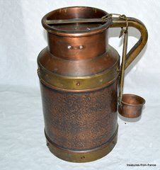 "French antique copper milk cream churn large 15"" chef cuisine pots cuivre dairy"