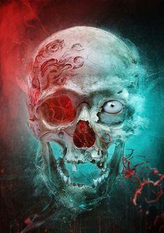 Skull Art by @ deviantart ☠️ Dark Fantasy Art, Dark Art, Tattoo Studio, Crane, Skull Pictures, Skeleton Art, Skull Wallpaper, Human Skull, Creepy Art