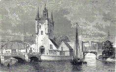 Antique woodcut print :gate,port, Zierikzee Zeeland Holland / Houtgravure 1873